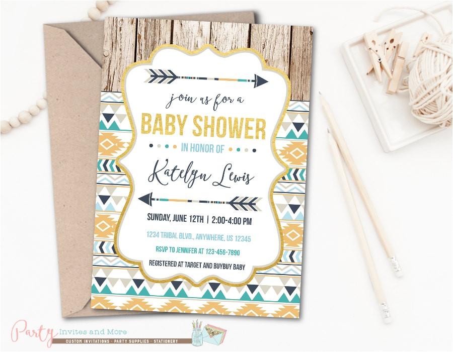 tribal baby shower invitation aztec baby