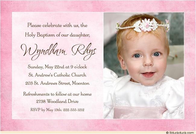 pink baptism or christening photo invitation