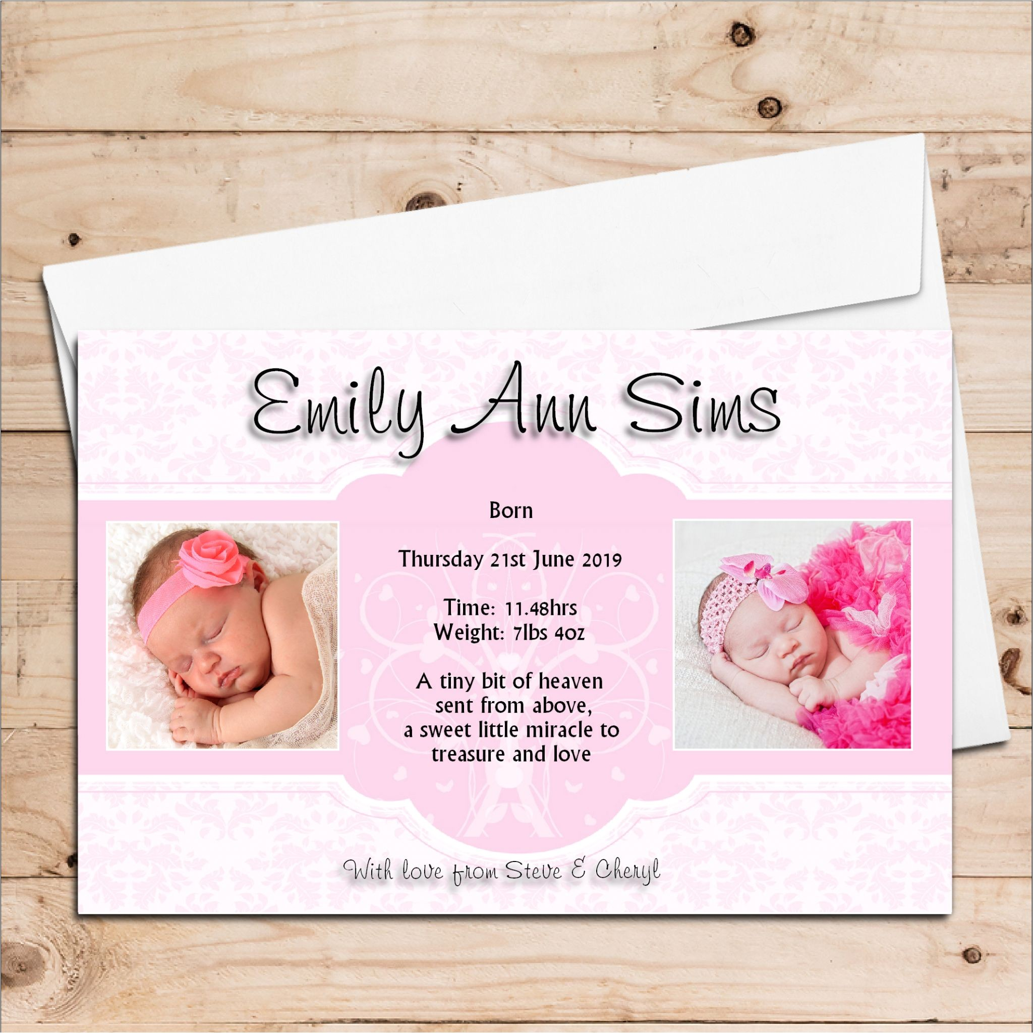 10 personalised baby girl birth announcement thank you photo cards n110 5510 p