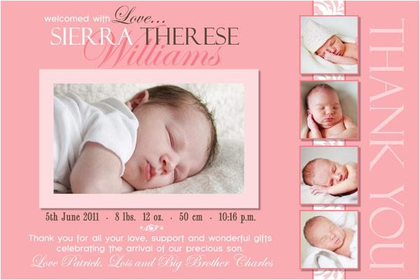 thank you photo cards for baby birth baptism birthday