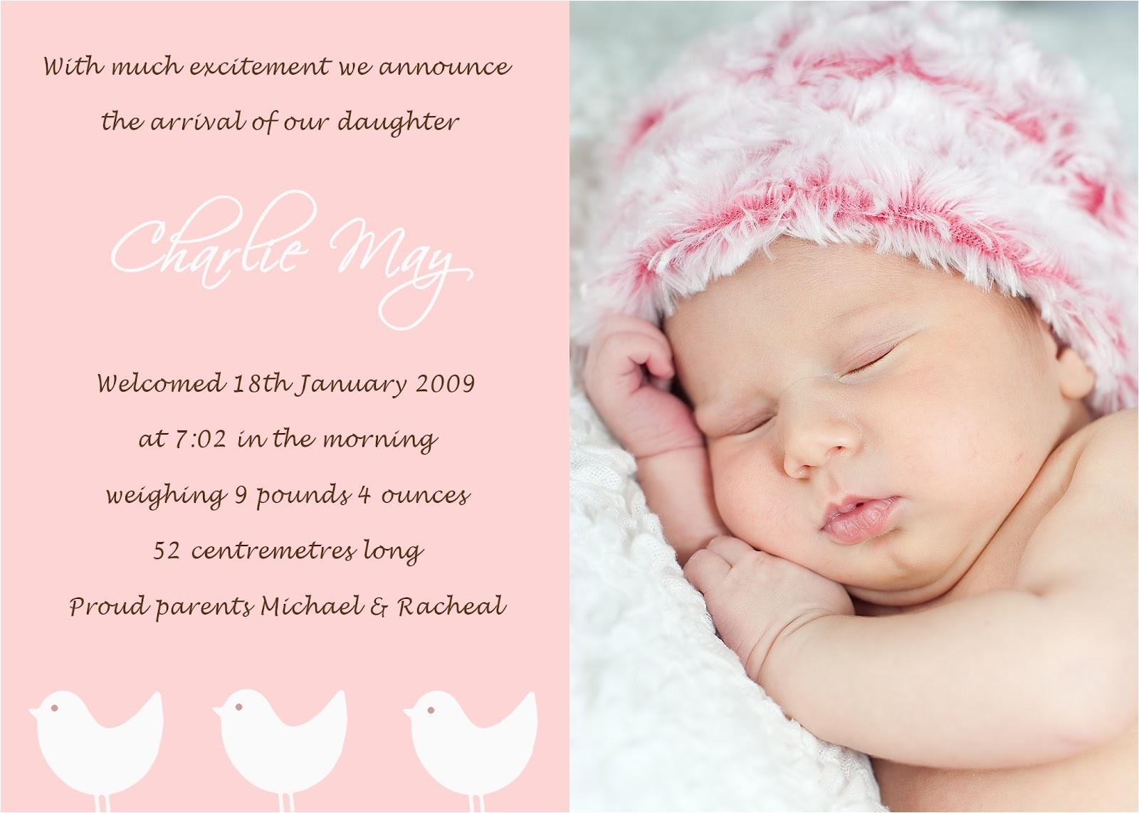 Baby Birth Party Invitation Wording Petit Paper Blossom Creations