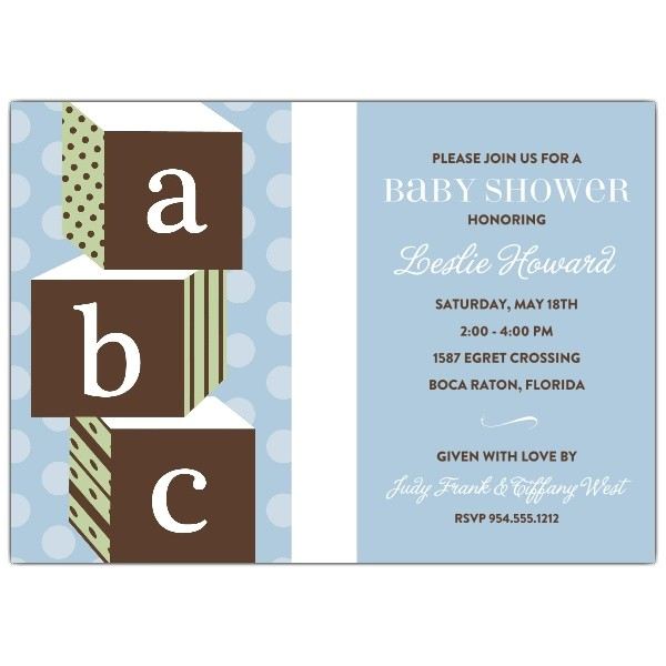 ABC Blocks Blue Baby Shower Invitations p 604 57 ABC1