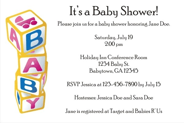 baby blocks invitations black text