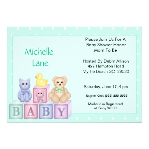 baby blocks shower invitation