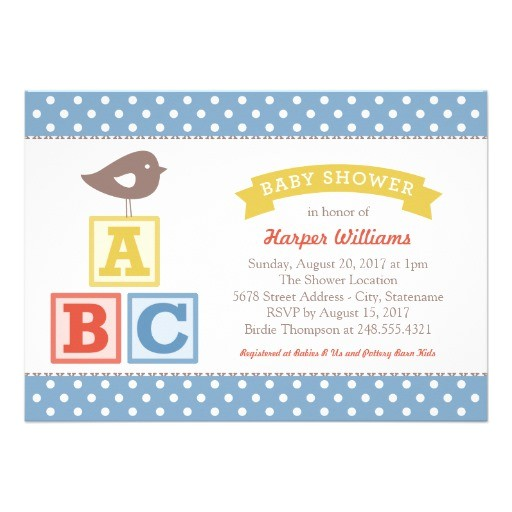 baby shower invitation abc alphabet blocks theme