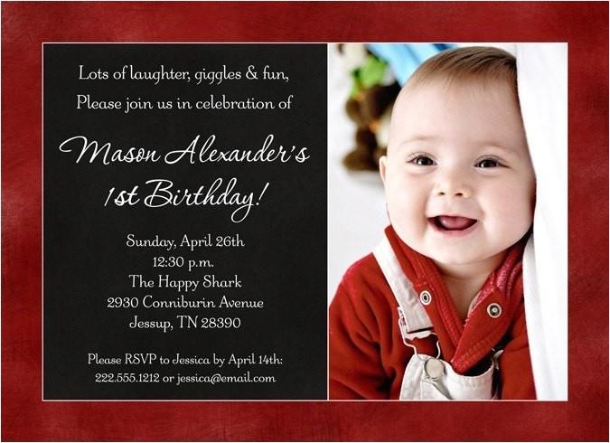 color photo babys birthday invitation