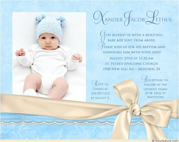 Baby Boy Baptism Invites Azure Baptism Invitation Blue & Ivory Little Boy S