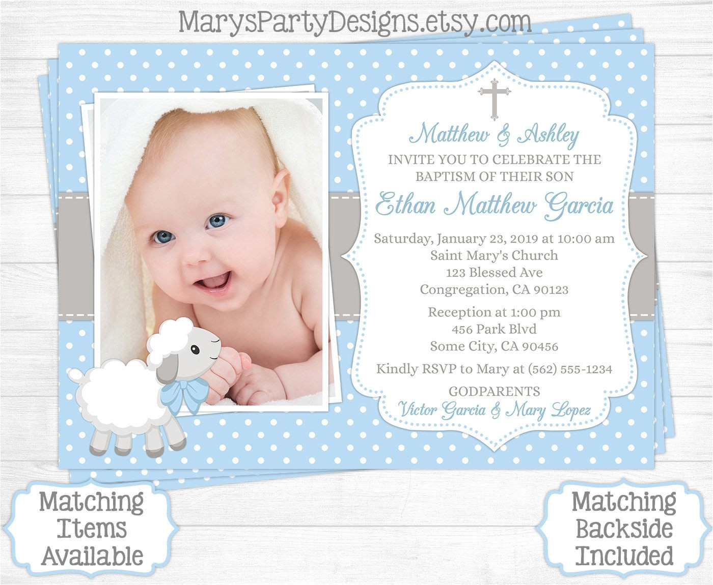 Baby Boy Baptism Invites Baptism Invitations for Boys Christening Invitations for