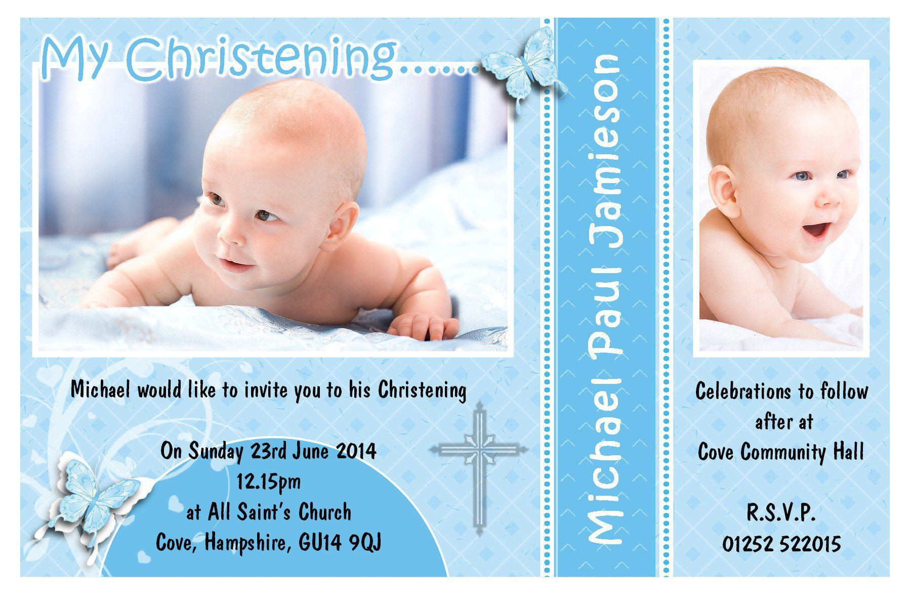invitation card christening baby boy