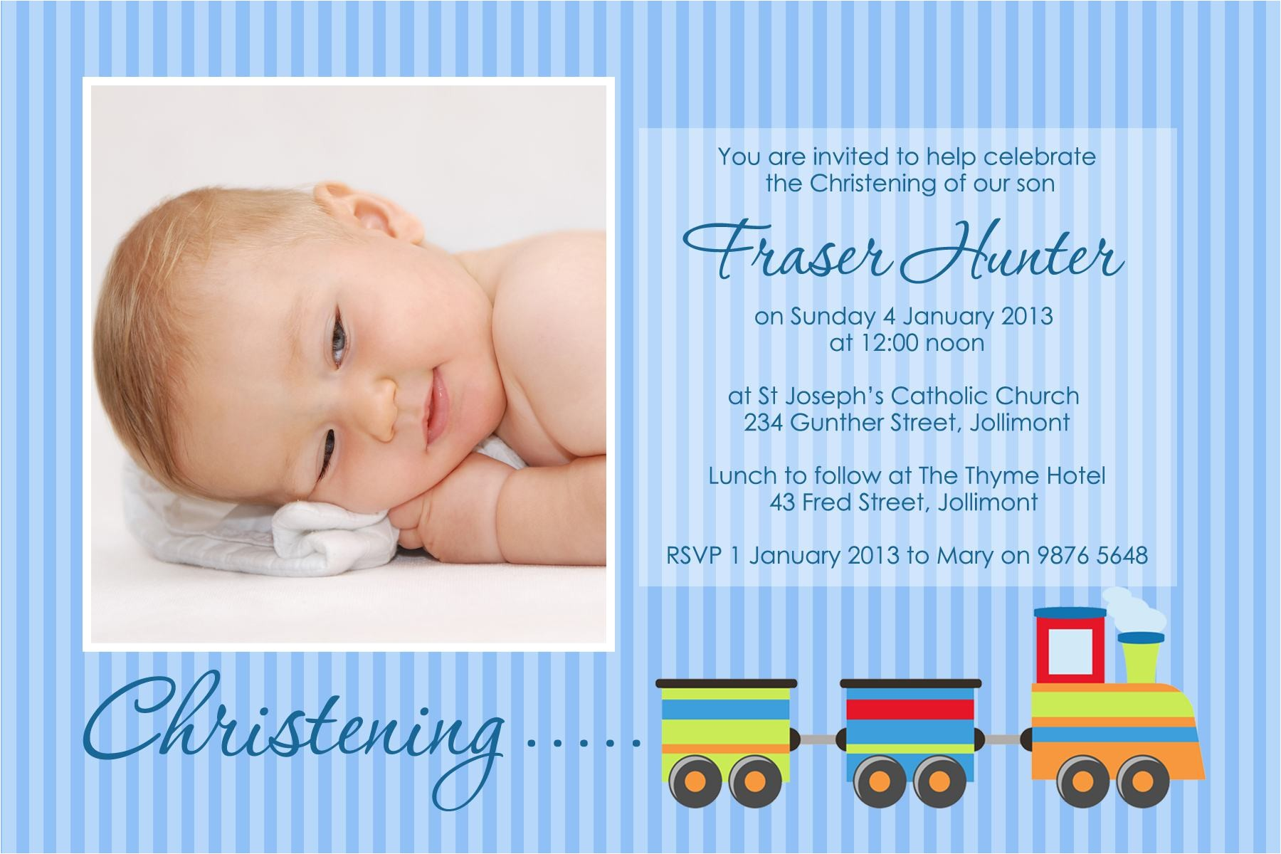 invitation for christening background for baby boy