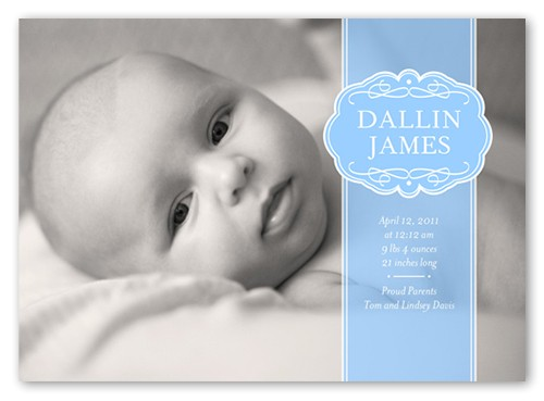 classic baby boy birth announcement 5x7 flat