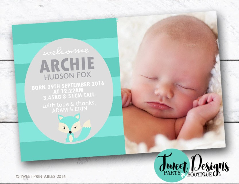 FOX BIRTH ANNOUNCEMENT, Boy Birth Announcement, Baby Boy Thank you Card, Fox Baby Thankyou Card, Woodland Baby Announcement, Fox Baby Card