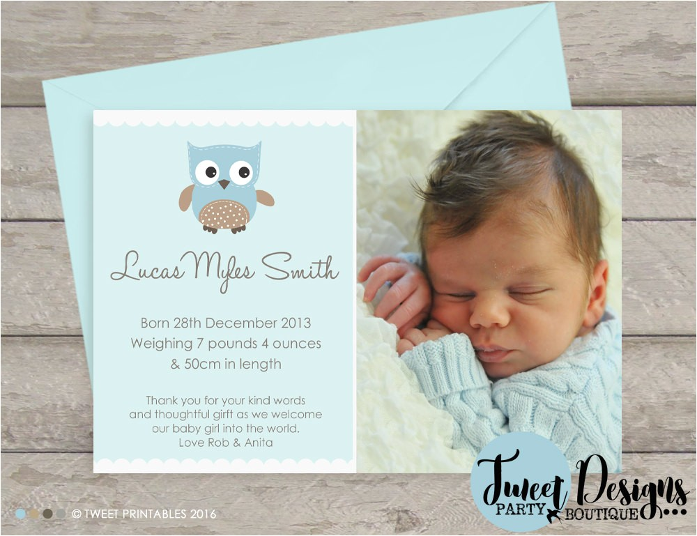 BOY BIRTH ANNOUNCEMENT, Owl Birth Announcement, Baby Boy Thank you Card, Cute Owl Birth Announcement, New Baby, Thank you Card, Card