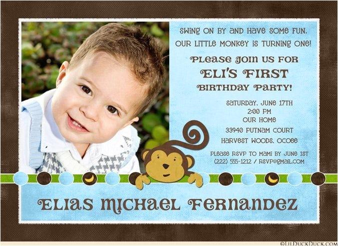 monkey boy birthday party invitation