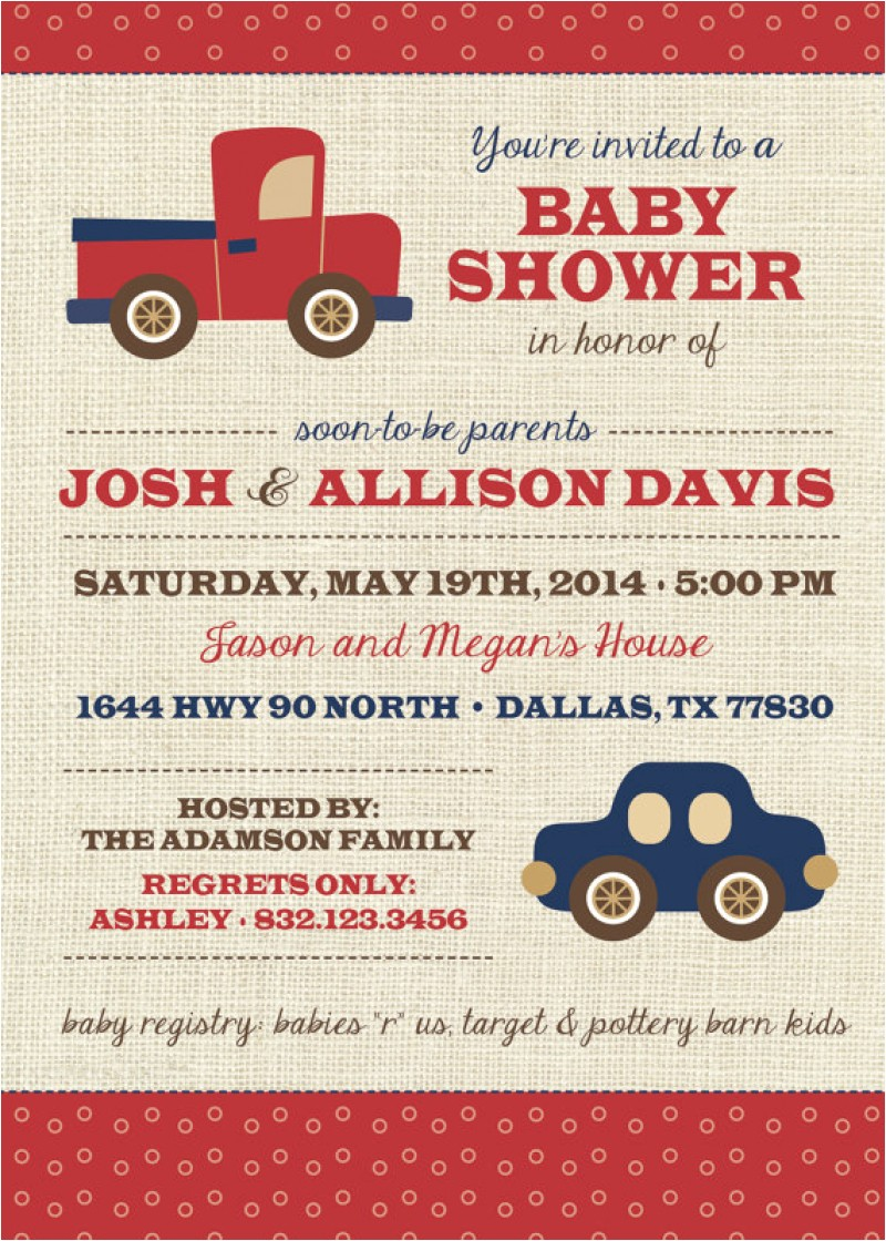 baby boy car and truck invitation template