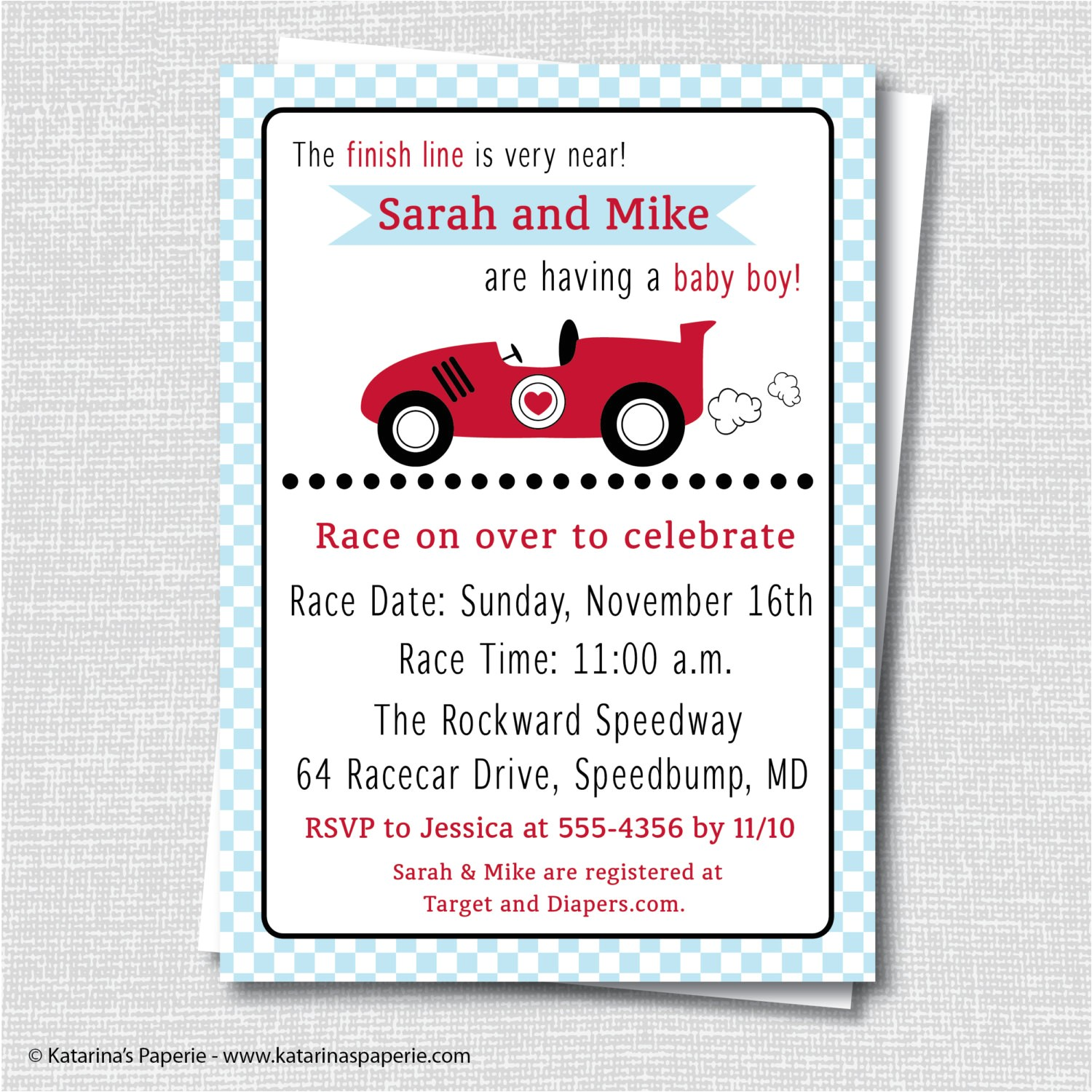 boy race car baby shower invitation boy