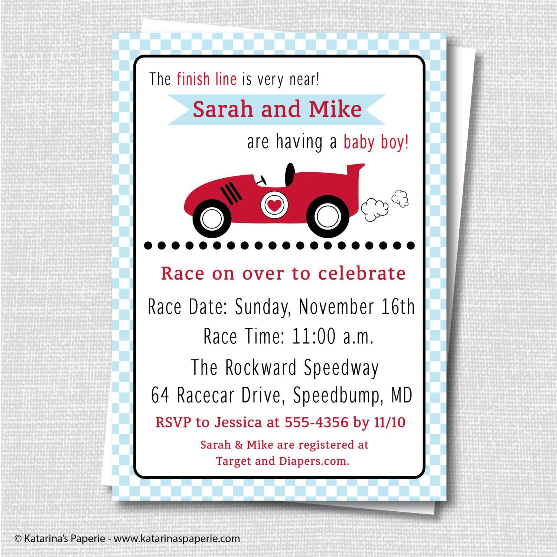 boy race car baby shower invitation boy