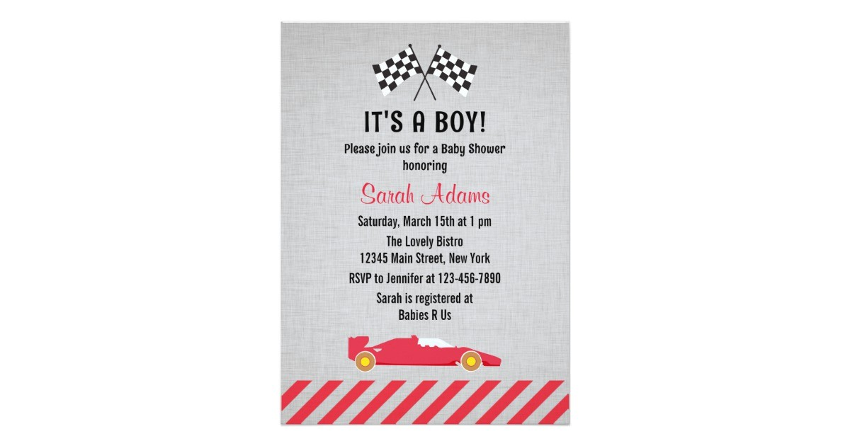 its a boy race car baby shower invitation