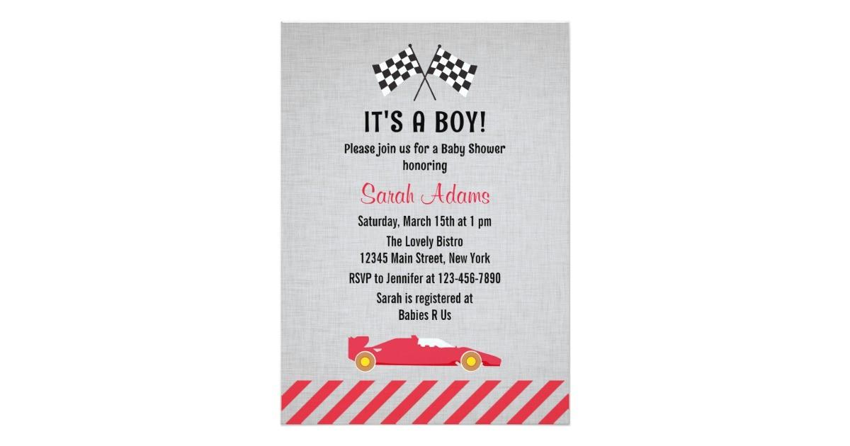 its a boy race car baby shower invitation