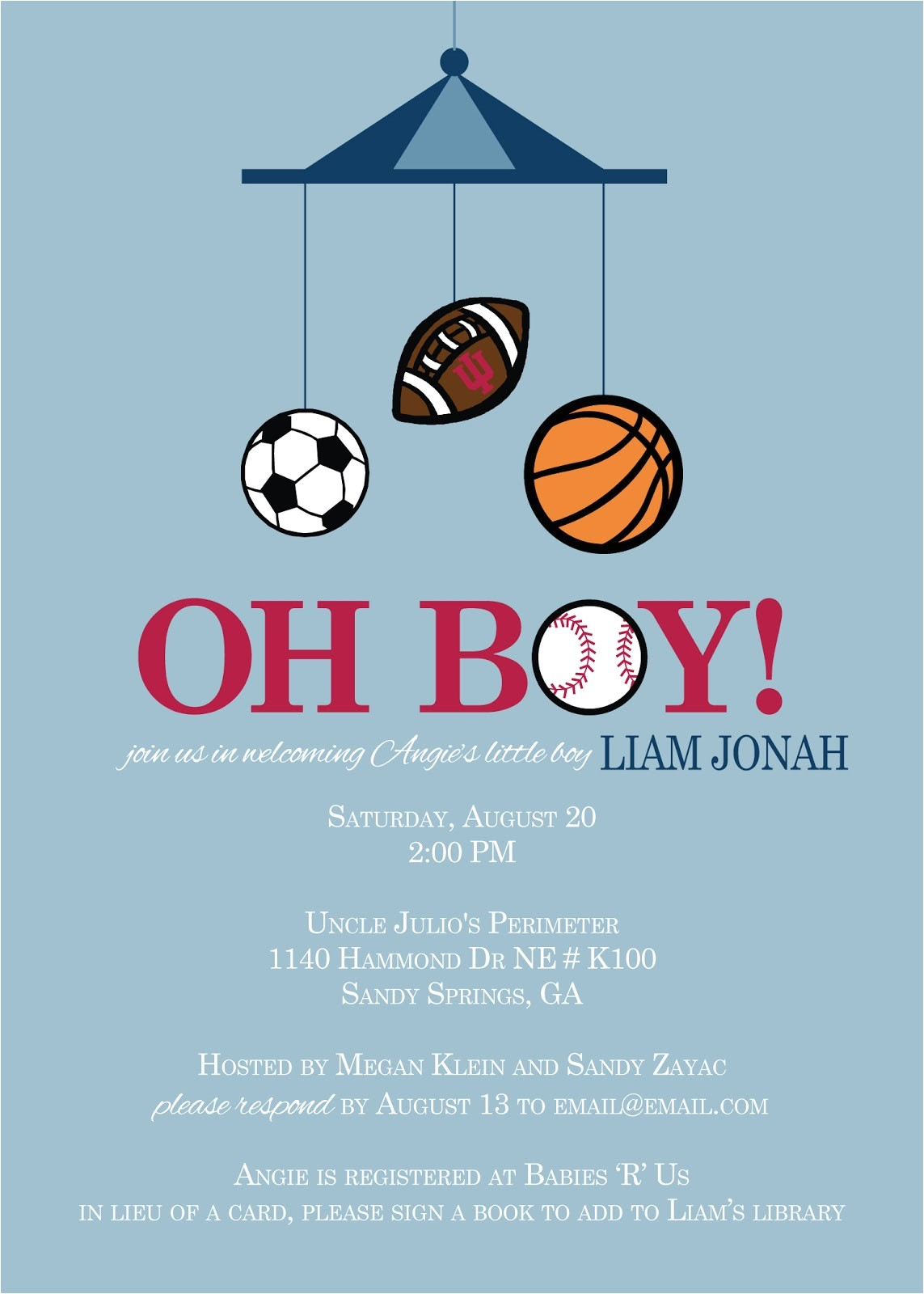 sports theme baby shower ideas