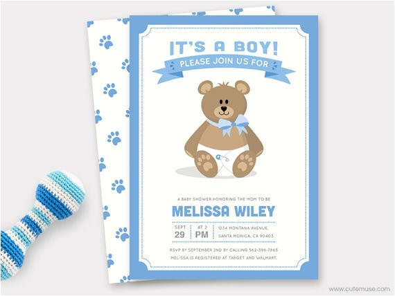 boy teddy bear baby shower invitation