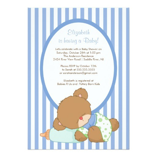 sweet teddy bear boy baby shower invitation