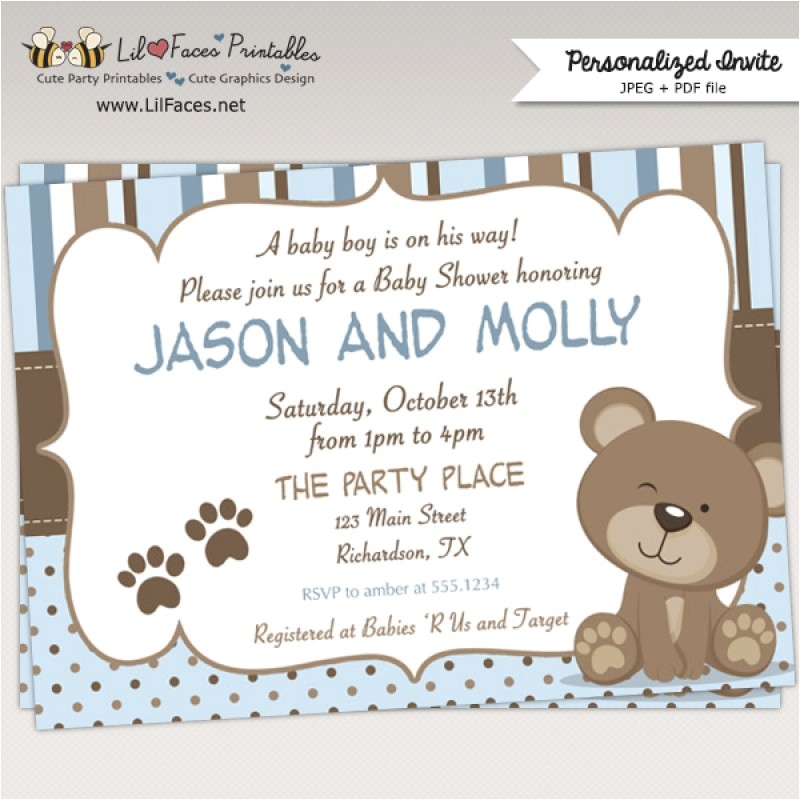 teddy bear baby shower invitations