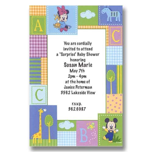 disney baby mickey minnie baby shower invitations diis0023