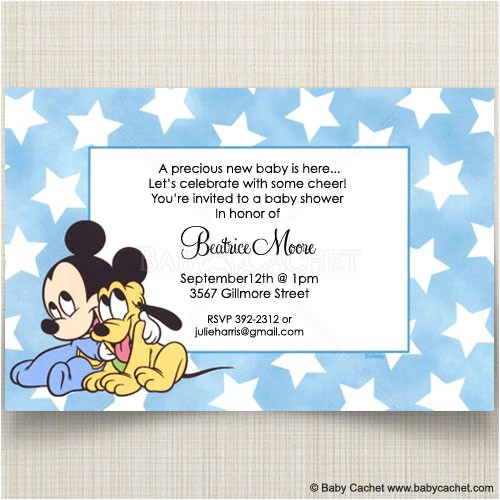 disney baby mickey pluto baby shower invitations diis0020