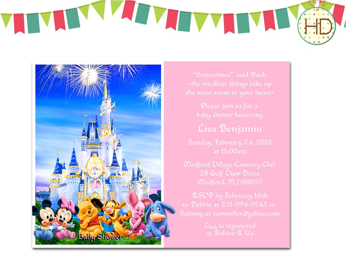 disney baby shower invitation disney