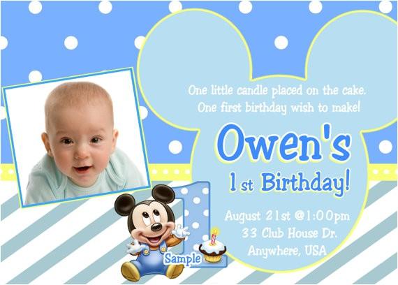 baby mickey 1st birthday invitation baby