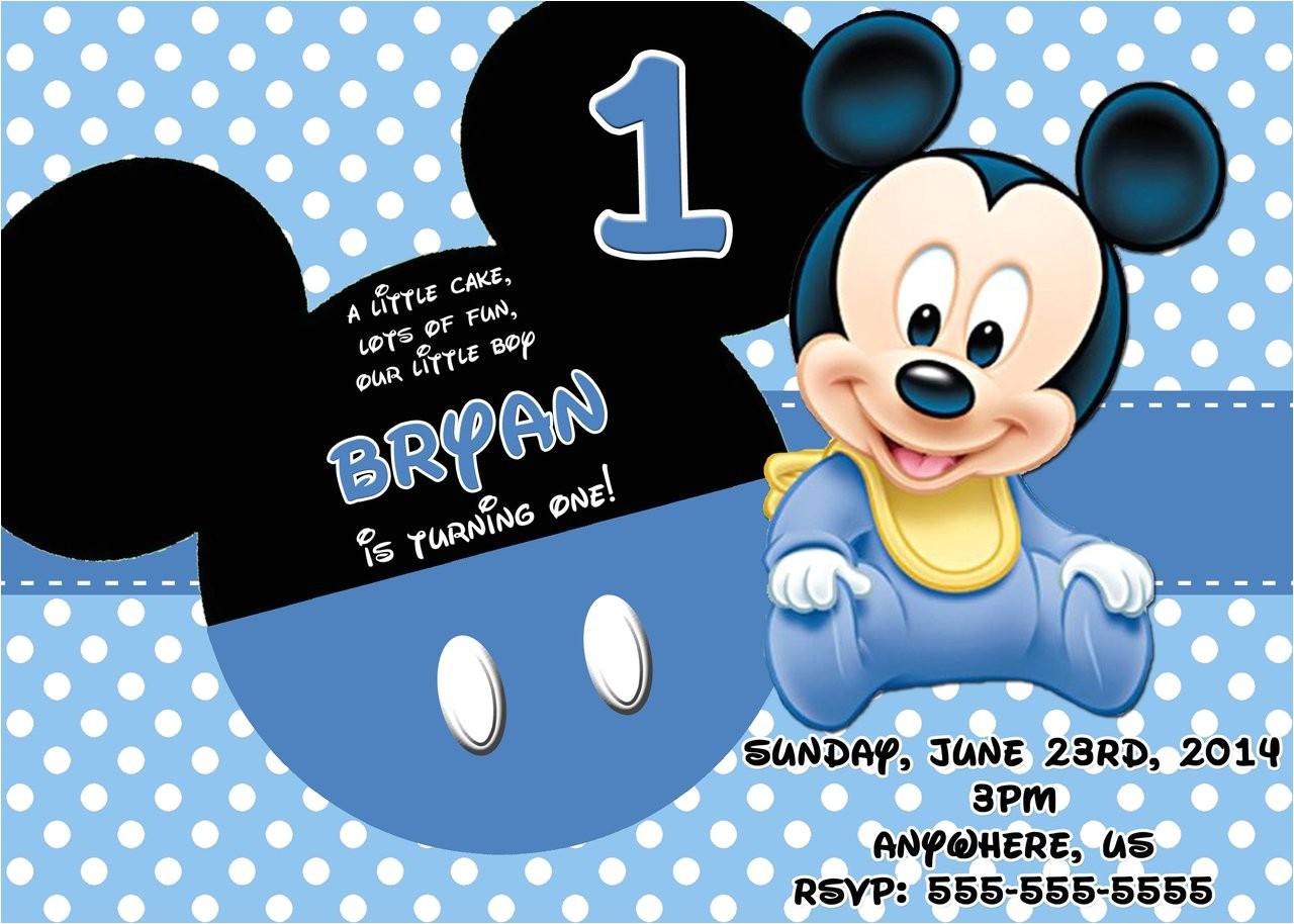 baby mickey first birthday invitations