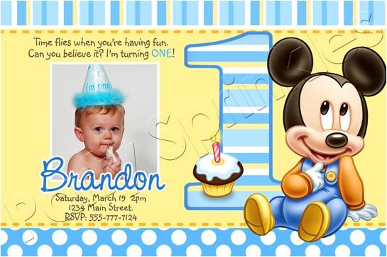 baby mickey first birthday invitations 2