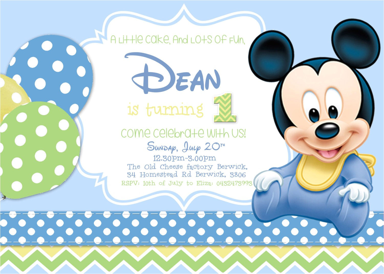 baby mickey mouse 1st birthday photo invitations