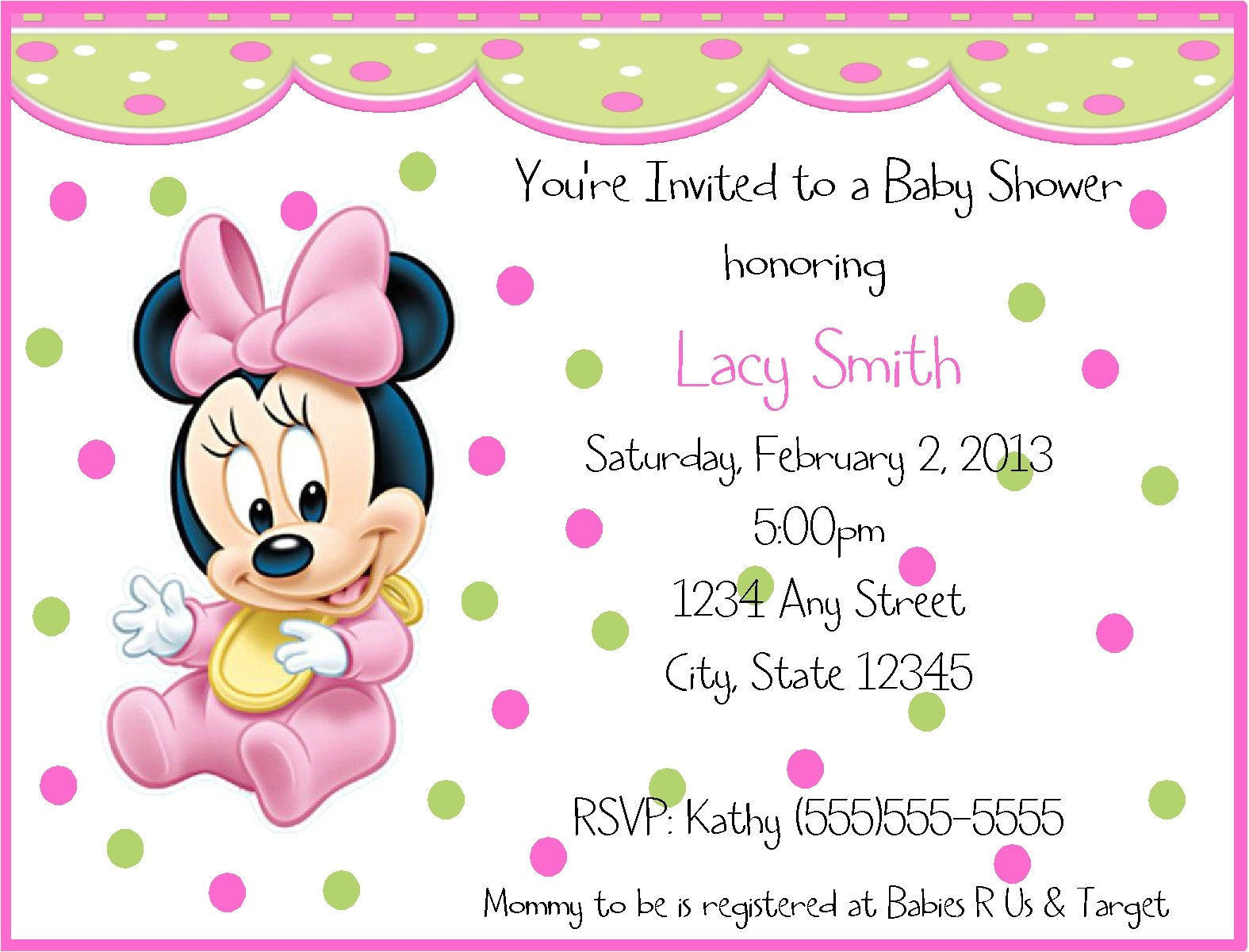 baby minnie mouse birthday invitations