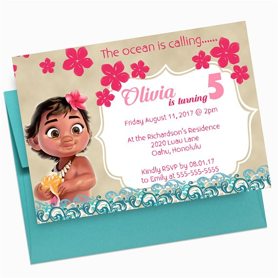 baby moana birthday invitation moana