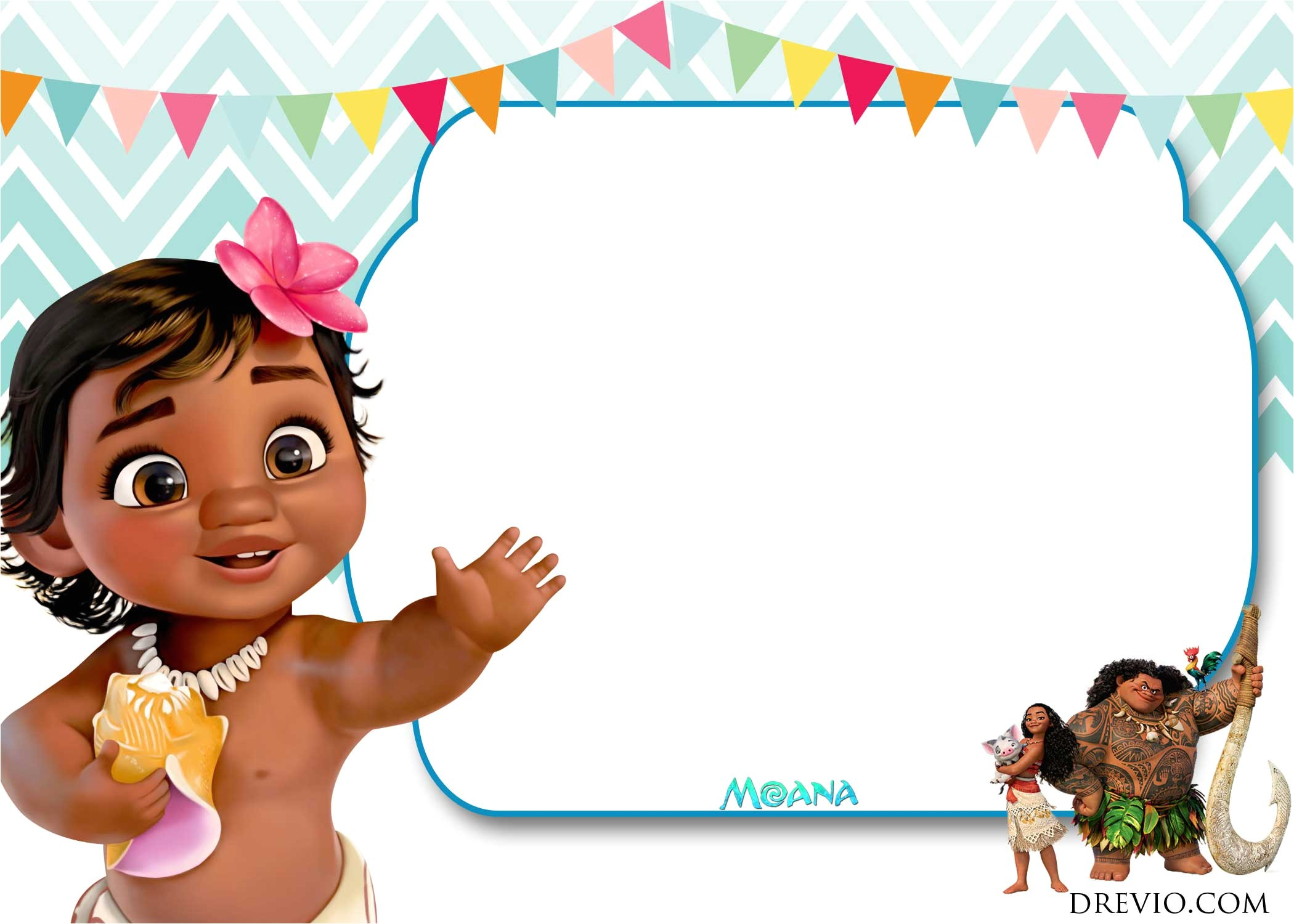 free moana baby shower invitation template