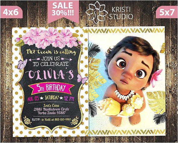 moana invitation moana baby invitation