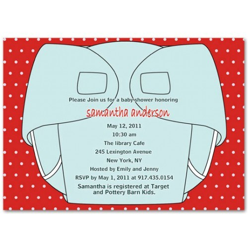 funny diaper party invitation with red polka dot background and nice wording