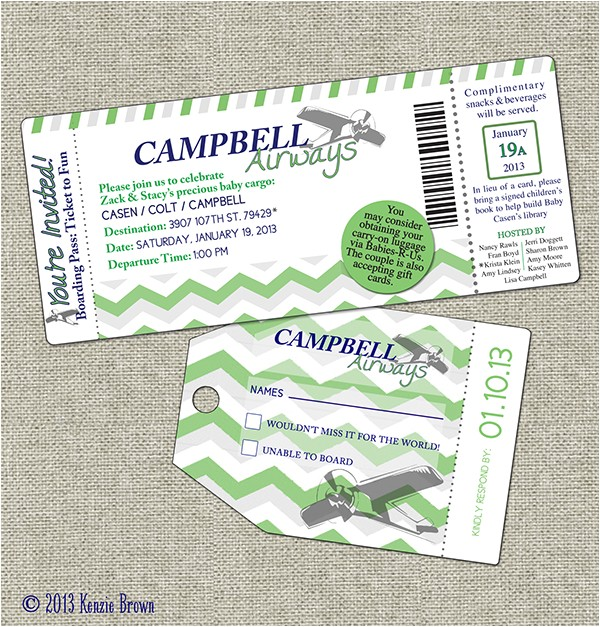Baby Shower Boarding Pass Invitation Casen Campbell