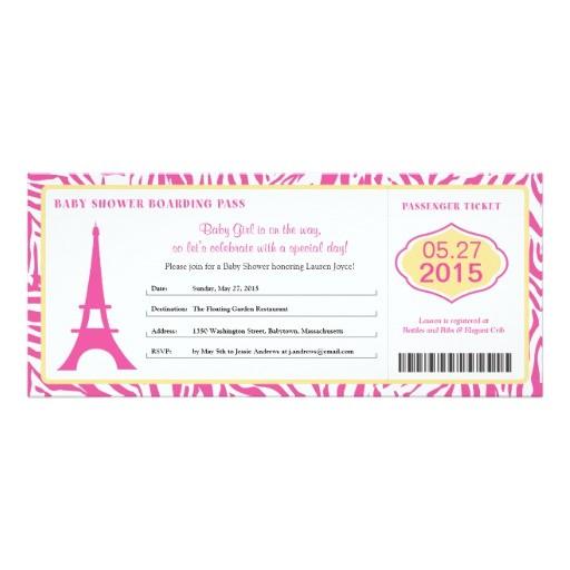 baby shower paris boarding pass invitation