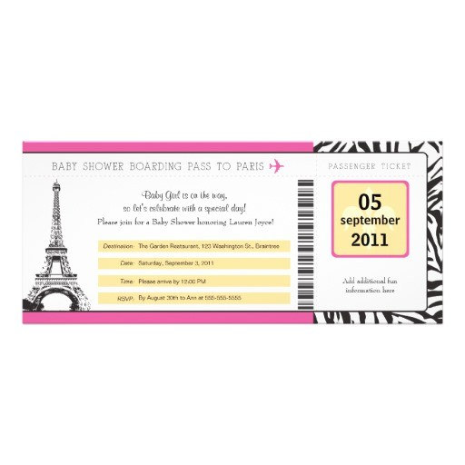 Baby Shower Boarding Pass Invitations Baby Shower Paris Boarding Pass 4×9 25 Paper Invitation
