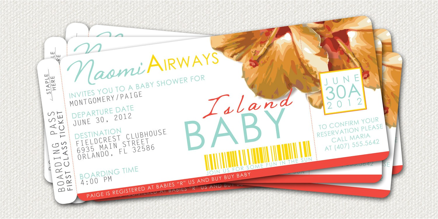 boarding pass baby shower invitation