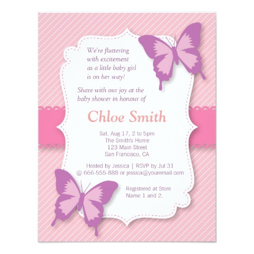 elegant purple butterfly baby shower invites