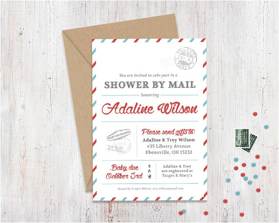 shower by mail invitation mail themed