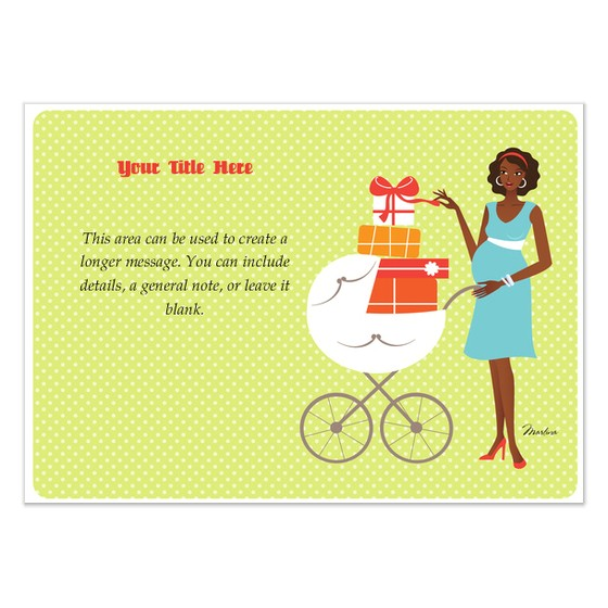 african american pregnant baby shower card