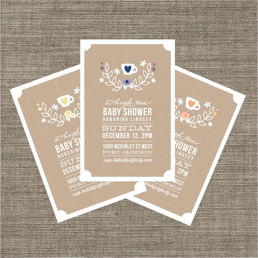 high tea baby shower invitation tea