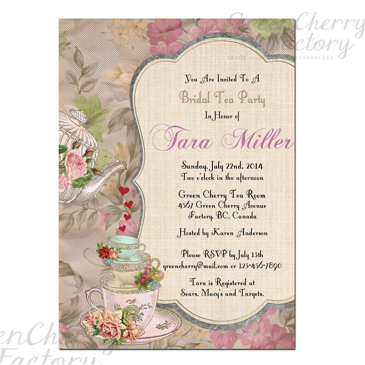 Baby Shower High Tea Invitation Wording Printable High Tea Party Invitations