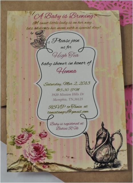 high tea baby shower invitations
