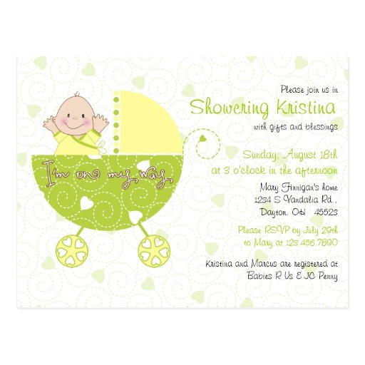baby shower invitation for gender unknown carriage postcard